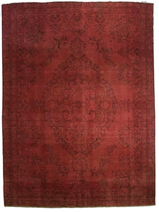 "Red Overdyed Rug <br> 8' 4"" x 11' 9"""