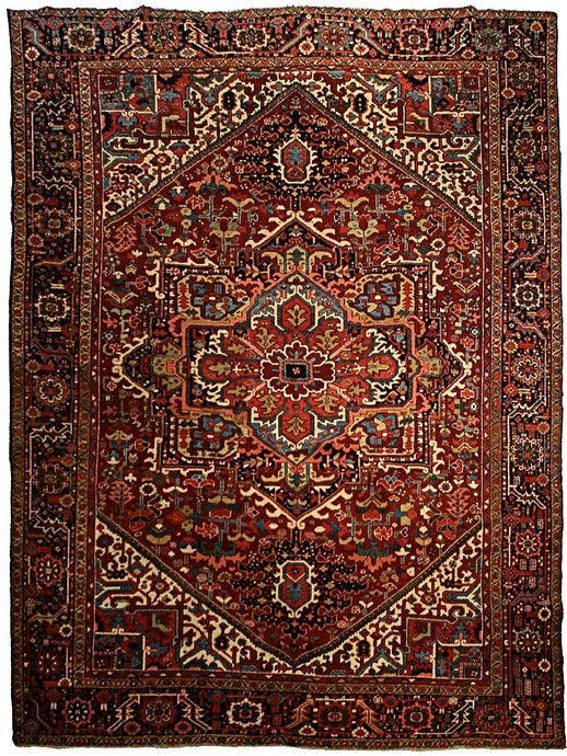 Antique Persian Heriz Rug <br> 9' 6