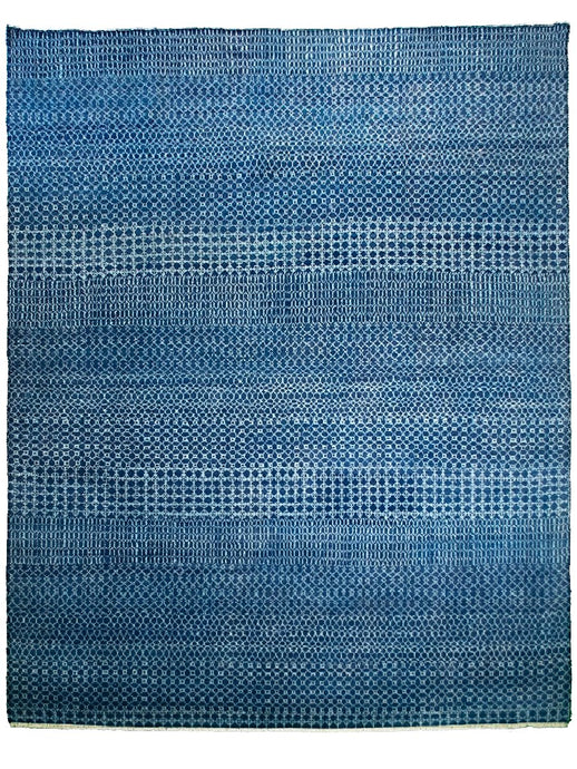 Modern Blue Indian Rug - 9' x 12' - Los Altos Rug Gallery