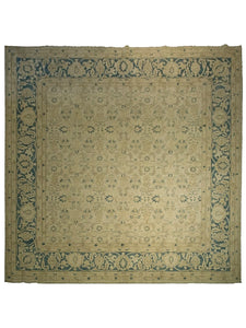 10' x 10' Square Sultanabad Rug - Beige Field, Blue Border