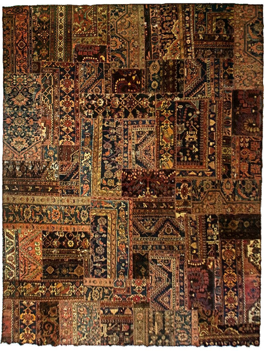 Antique Persian Patchwork Rug- 1920's - 10' x 12'
