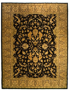 Sultanabad Area Rug with Black Field - 9' x 12'