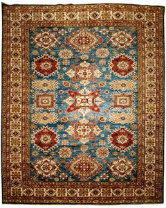 "Blue Tribal Kazak Rug <br> 8"" 1"" x 9' 10"""
