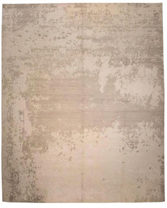 "Modern Beige Silk Indian Rug  <br> 8"" x 9' 10"""