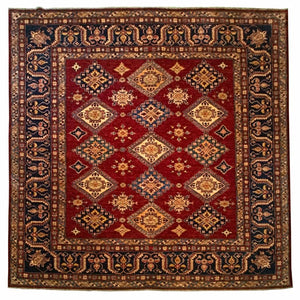 Square Kazak Tribal Rug <br> 8' x 8'