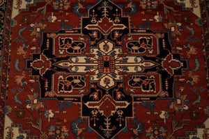 "Tribal Turkish Heriz Rug <br> 7' 9"" x 10' 4"""