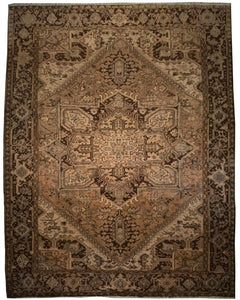 "Antique Persian Heriz Rug <br> 7' 11"" x 10' 8'"