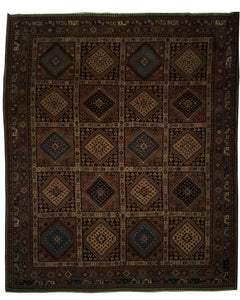 "Antique Persian Shiraz Rug <br> 8' 9"" x 9' 10"""