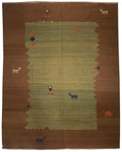 8'  10' - Persian Flat Weave Kilim - Green Field - 8131