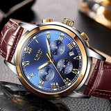 Mens Chronograph Water-resistant Sport Date Quartz Leather Band Wrist Watch