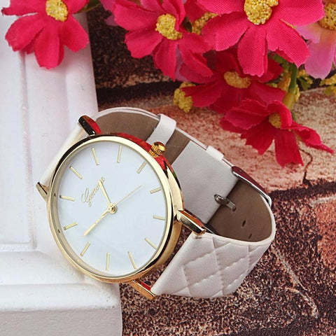 Womens Checker Pattern Leather Band Quartz Wrist Watch