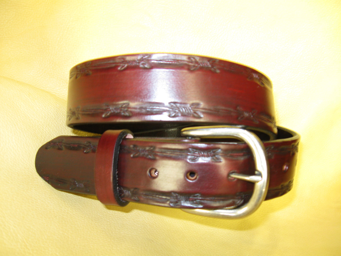 Embossed Barbed Wire Edges Latigo Leather Belt - Sur Tan Mfg. Co.