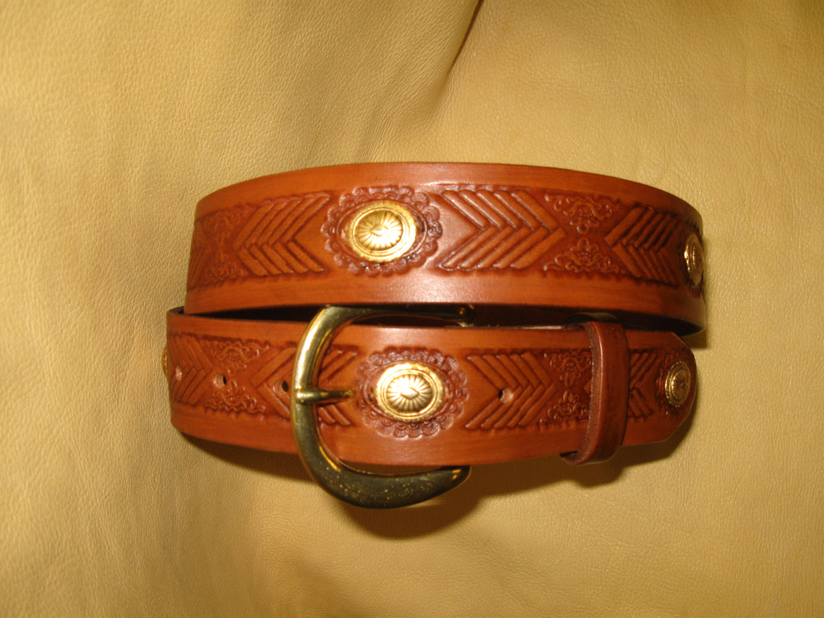 Apache Design Bridle Leather Belt - Sur Tan Mfg. Co.