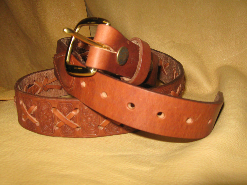 Sur Tan Classic Harness embossed leather belt with X-weave design and solid brass buckle