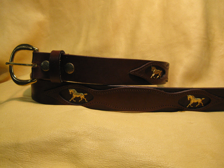 Sur Tan Classic Bridle leather belt with picture-framed overlay design, solid brass running horses medallions and solid brass buckle