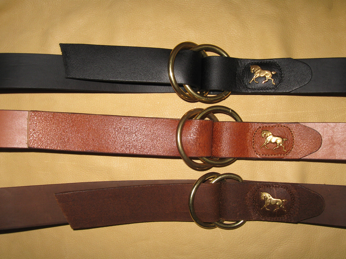 Sur Tan Classic Ring-Style Cowhide leather belt with solid brass running horse medallions and twin-ring solid brass buckle