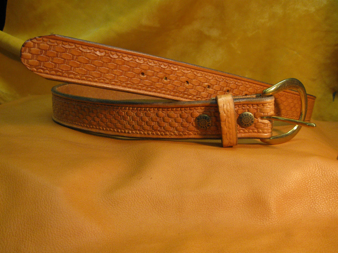 Basket Weave Design Embossed Harness Leather Belt - Sur Tan Mfg. Co.