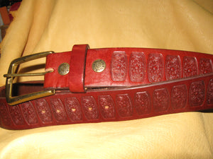 Sur Tan Classic Bridle embossed leather belt with solid brass buckle