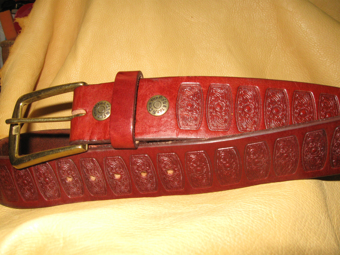 Embossed Bridle Leather Belt