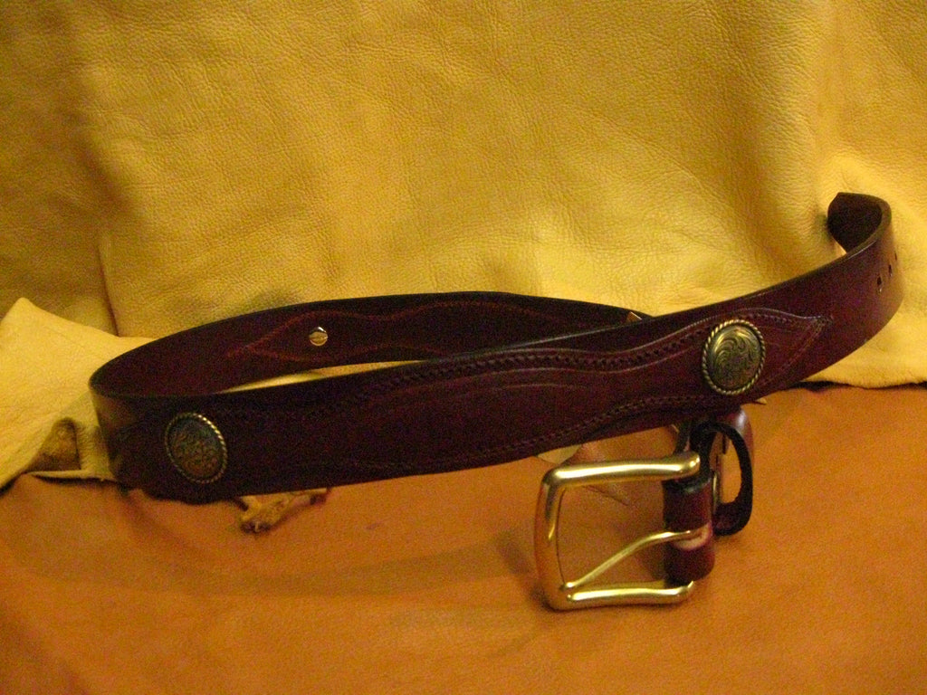 Sur Tan Classic Harness leather belt with overlay design, 4 round brass detailed conchos and solid brass buckle