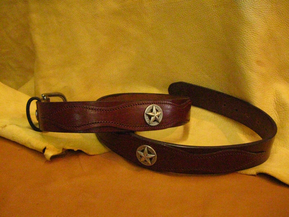 Sur Tan Classic Harness leather belt with overlay design, 4 star shaped antique nickel conchos and solid nickel buckle