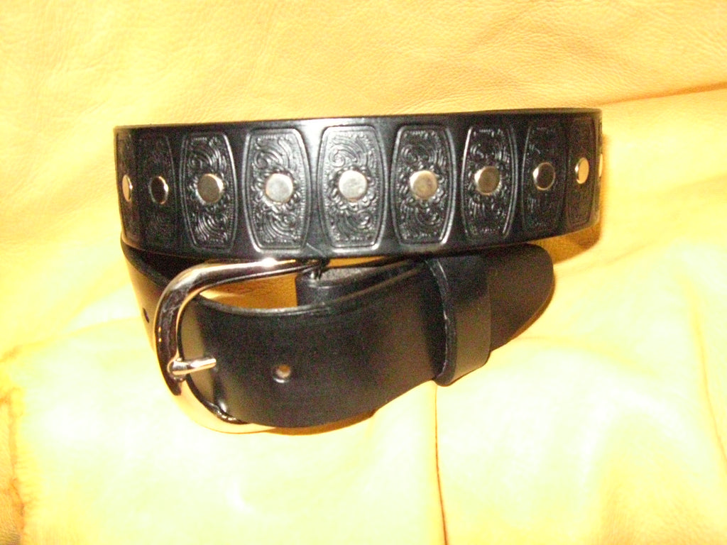 Nickel Rivets Embossed Bridle Leather Belt - Sur Tan Mfg. Co.