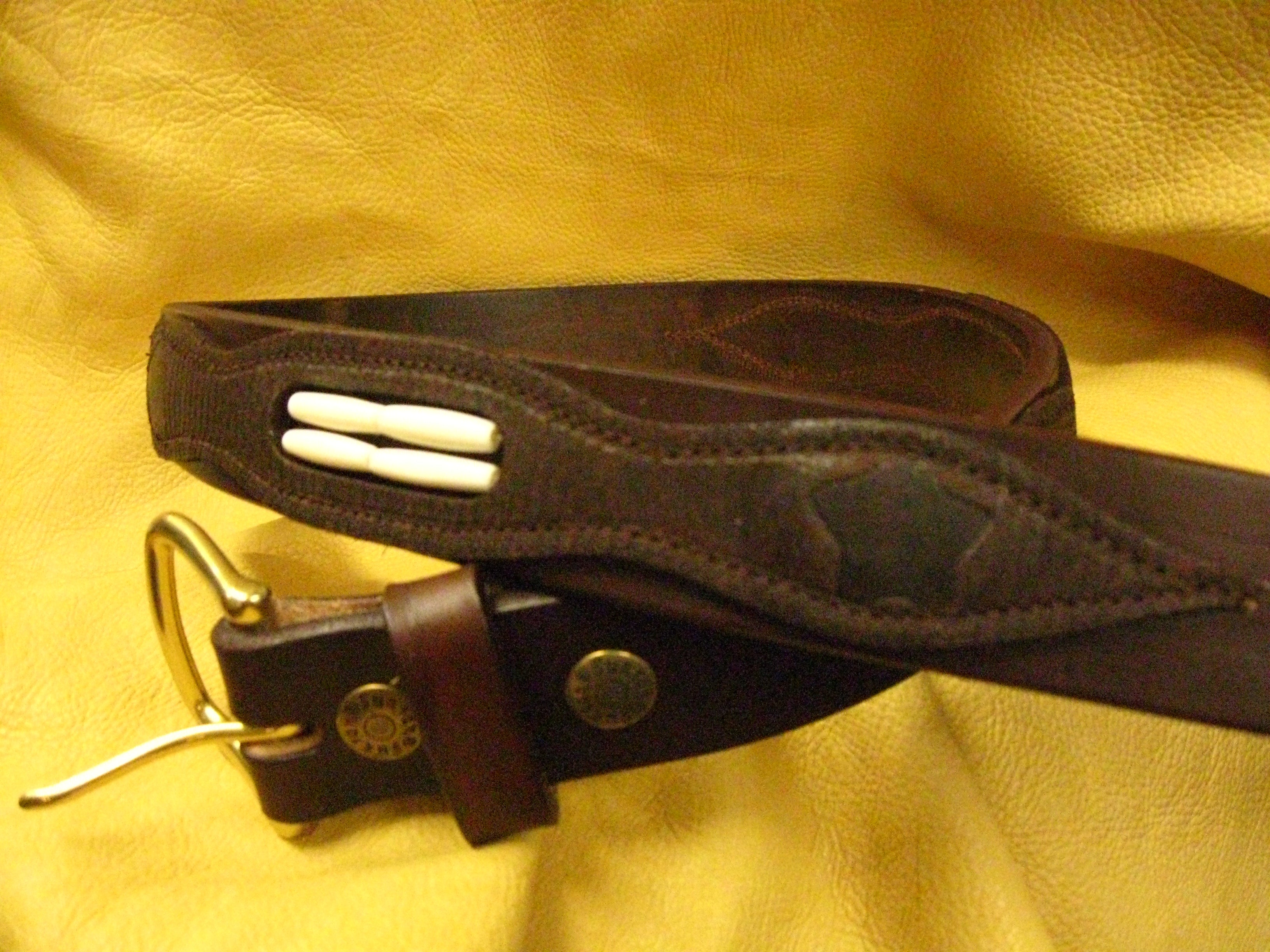 Sur Tan Classic Rugged Apache leather belt with overlay design, cow bone beads and solid brass buckle
