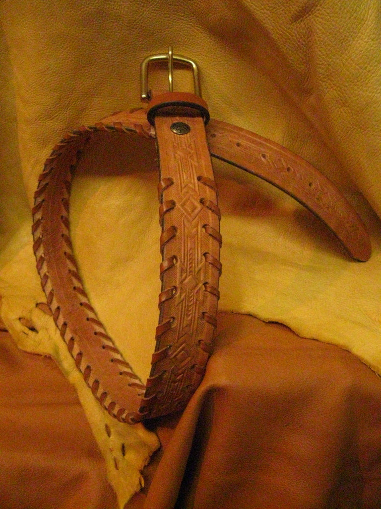 Sur Tan Classic Harness embossed leather belt with hand-laced edges and solid brass buckle