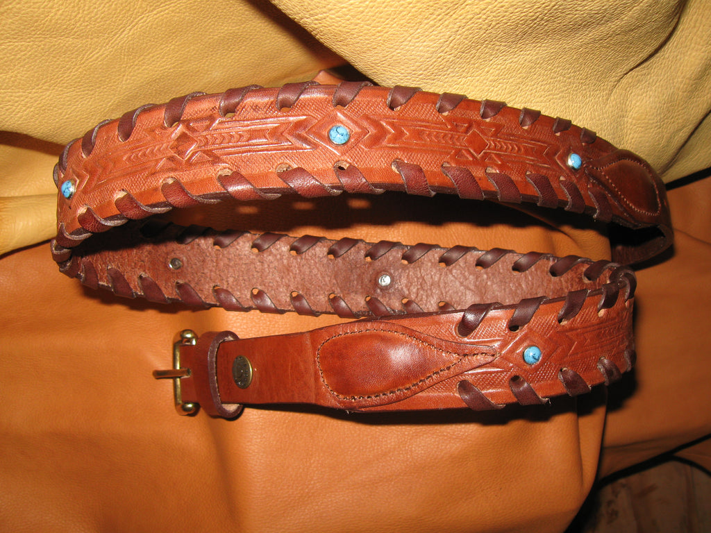 Laced-Edges Narrow End Tabs Embossed Women's Harness Leather Belt