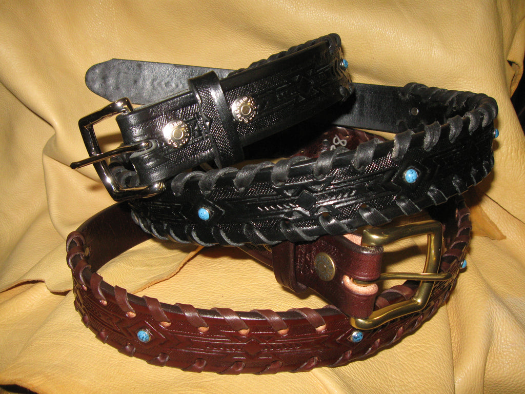 Sur Tan Classic Harness embossed leather belt with hand-laced edges, turquoise studs and solid nickle or brass buckle (option)