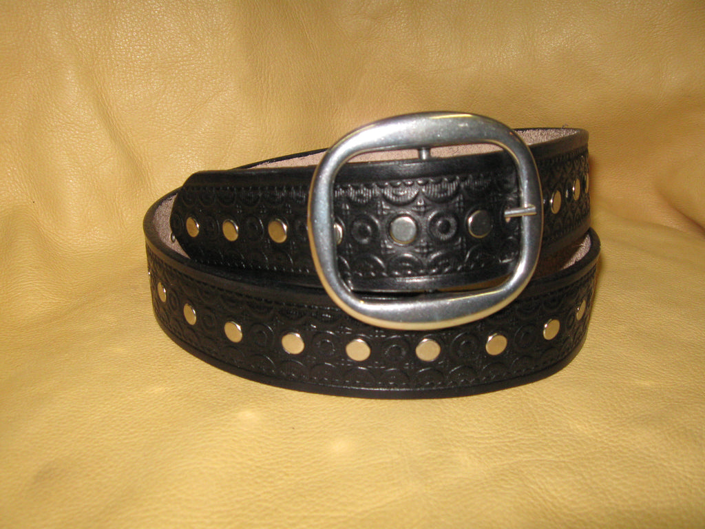Nickel Rivets Women's Embossed Harness Leather Belt