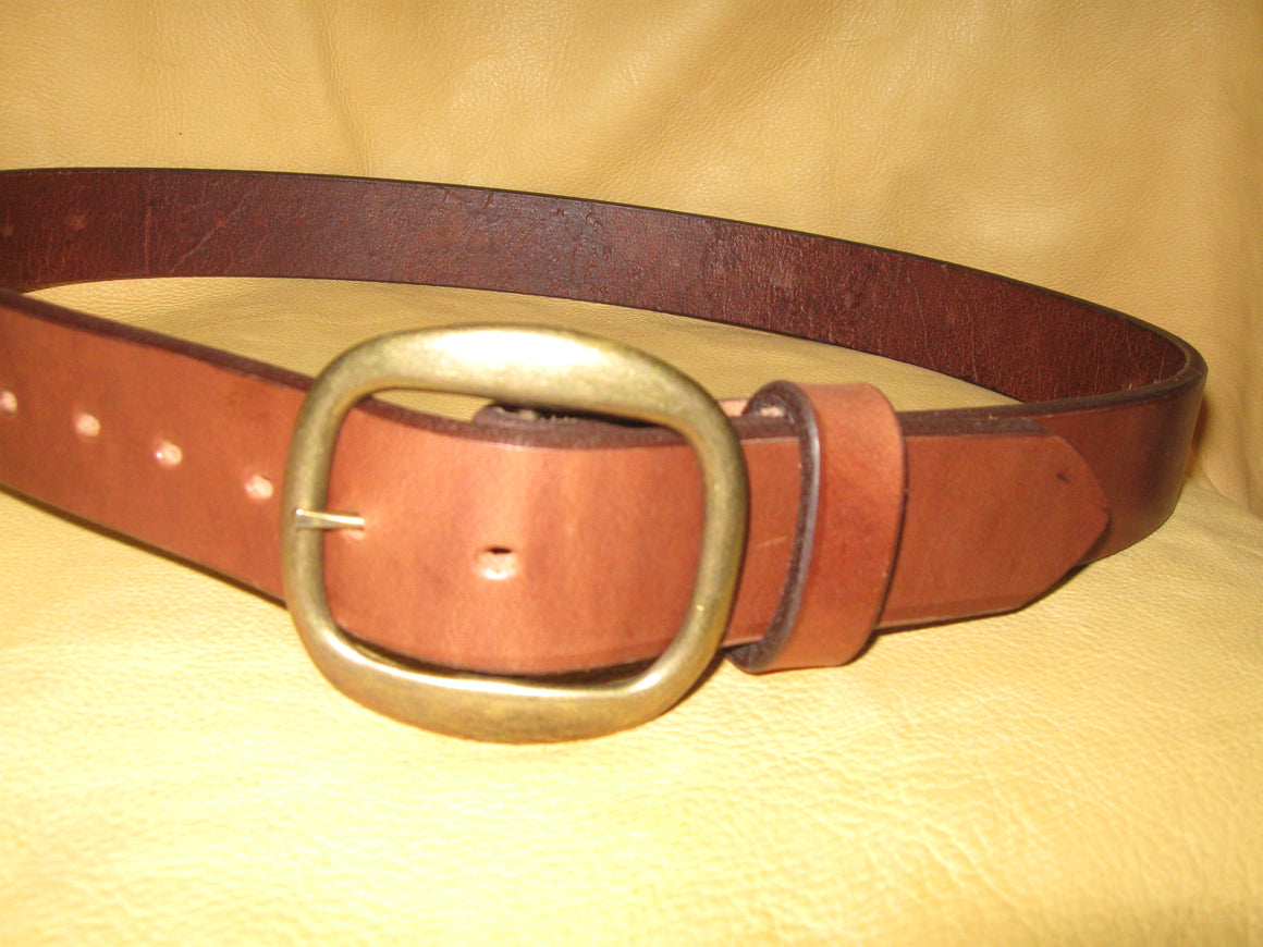 Sur Tan Standard Heavy Harness leather belt with solid brass center bar buckle