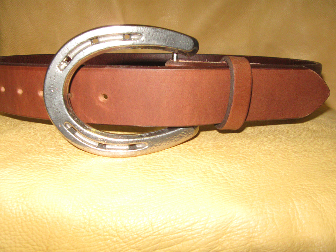 Hand-Made Horseshoe Buckle Harness Leather Belt - Sur Tan Mfg. Co.