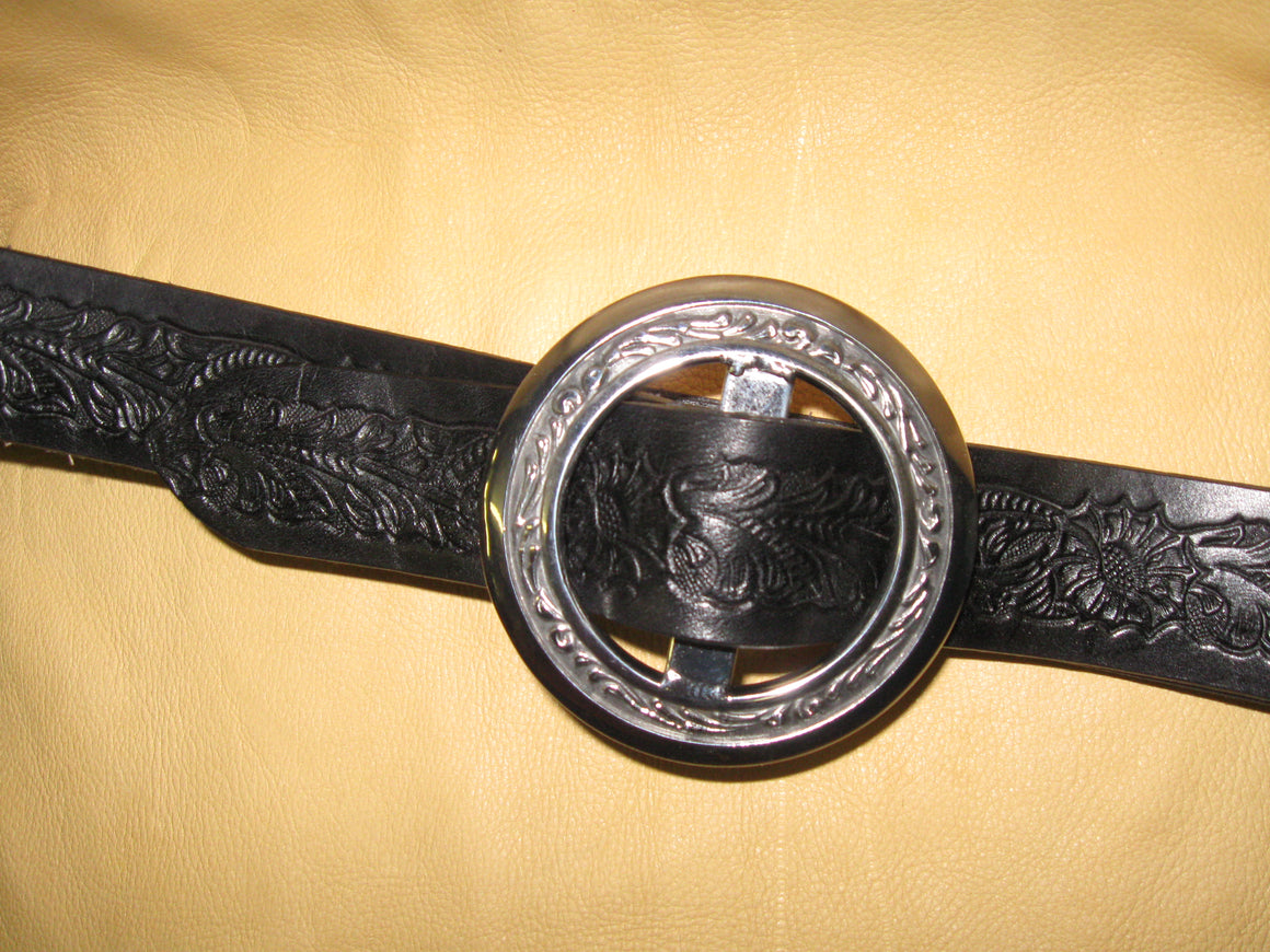 Floral Design Embossed Women's Bridle Leather Belt
