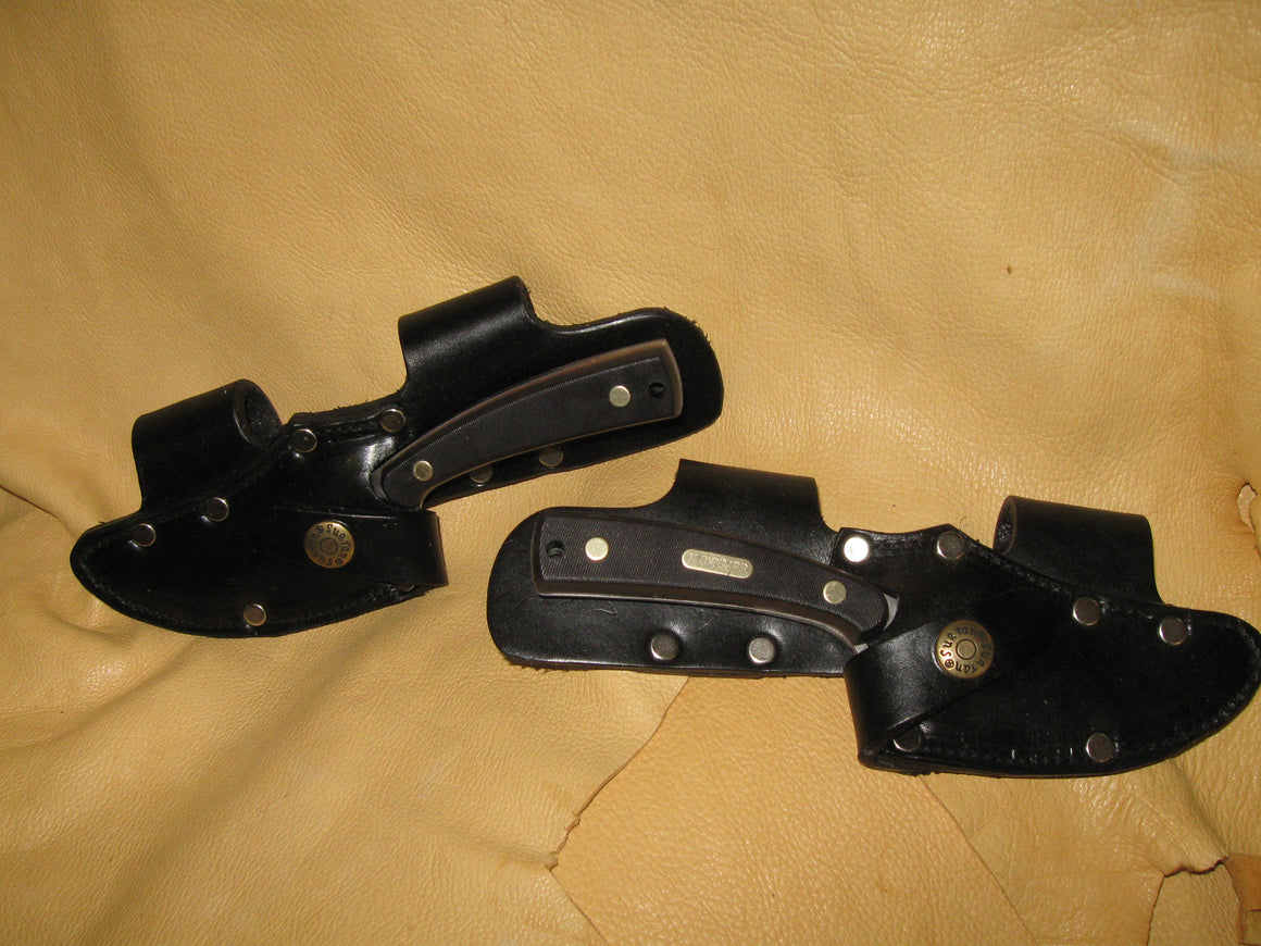 Twin Quick Draw Patented Horizontal Left-Right Cowhide Knife Sheaths