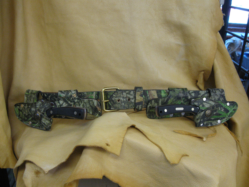 Twin Quick Draw Patented Left-Right Camo Cowhide Knife Sheaths and Belt - Sur Tan Mfg. Co.