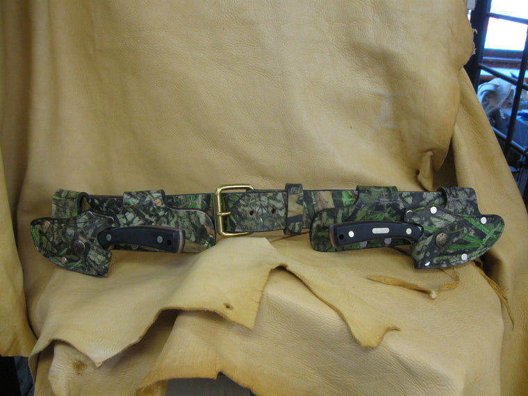 Twin Quick Draw Patented Left-Right Camo Cowhide Knife Sheaths and Belt