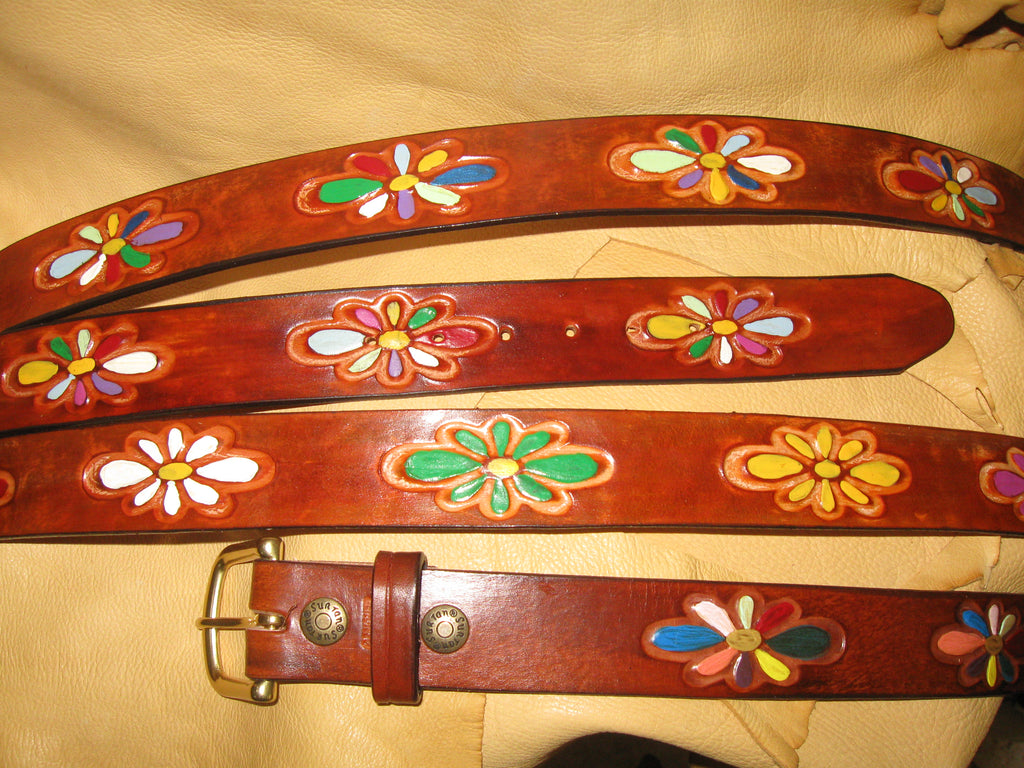 Hand-Painted Floral Design Women's Tooling Leather Belt