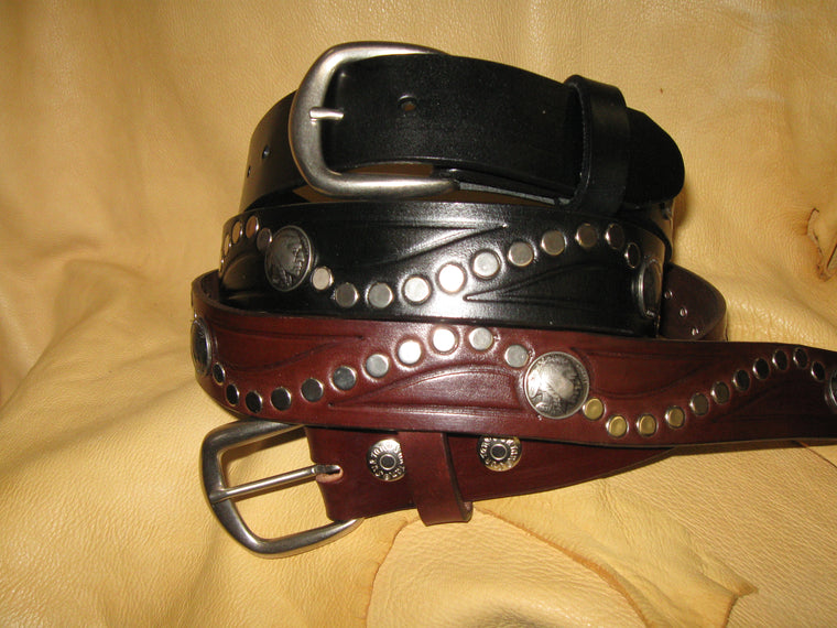 Sur Tan Classic Harness leather rivet belt with indian head and buffalo nickels and nickel - silver buckle