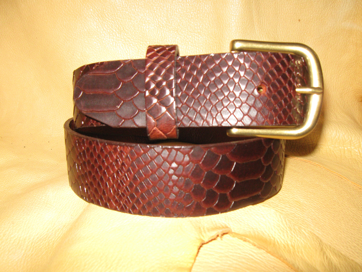 Reptile-Embossed Cowhide Leather Belt - Sur Tan Mfg. Co.