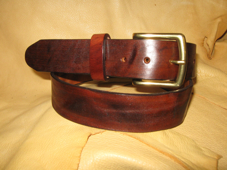Sur Tan Standard Harness leather belt hand-stained with heavy solid brass buckle