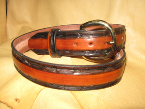 Sur Tan Classic Harness leather belt hand-dyed and 2-tone with barbed wire skived edges with solid brass buckle