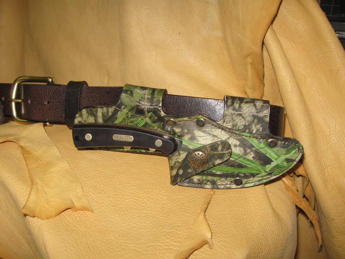 Quick Draw Patented Horizontal Left-Side Camo Knife Sheath - Sur Tan Mfg. Co.