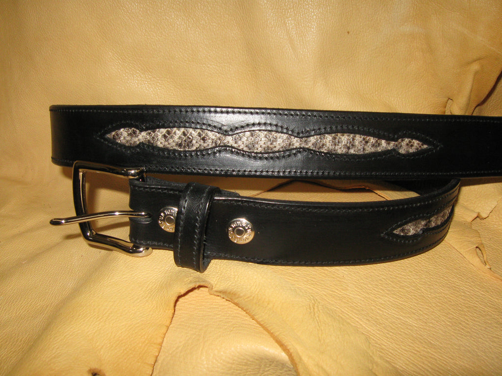 Rattlesnake Skin Harness Leather Belt - Sur Tan Mfg. Co.