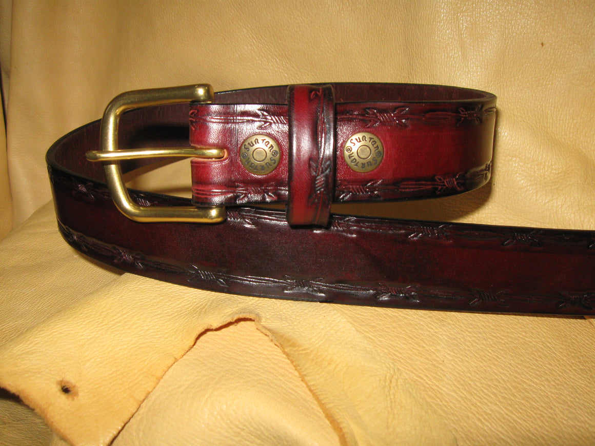 Barbed-Wire Embossed Latigo Leather Belt - Sur Tan Mfg. Co.