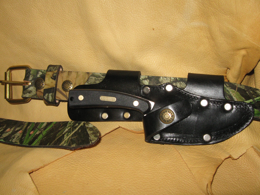 Quick Draw Patented Horizontal Left-Side Cowhide Knife Sheath - Sur Tan Mfg. Co.