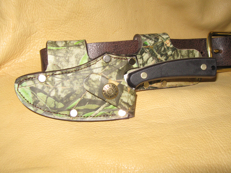 Quick Draw Patented Horizontal Right-Side Leather Knife Sheath