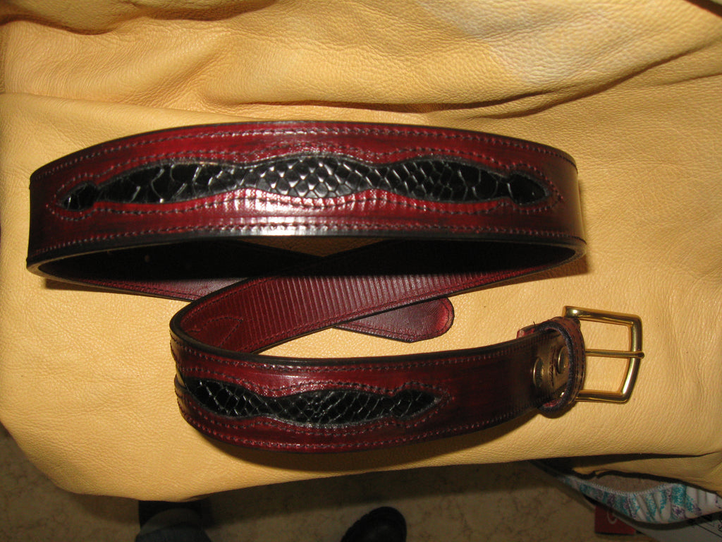 Sur Tan Classic Latigo leather belt with reptile print inlay design and soild brass buckle