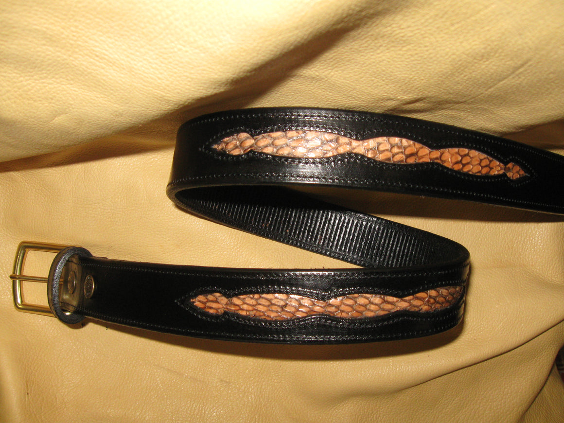 Cobra Skin Inlay Design Harness Leather Belt - Sur Tan Mfg. Co.