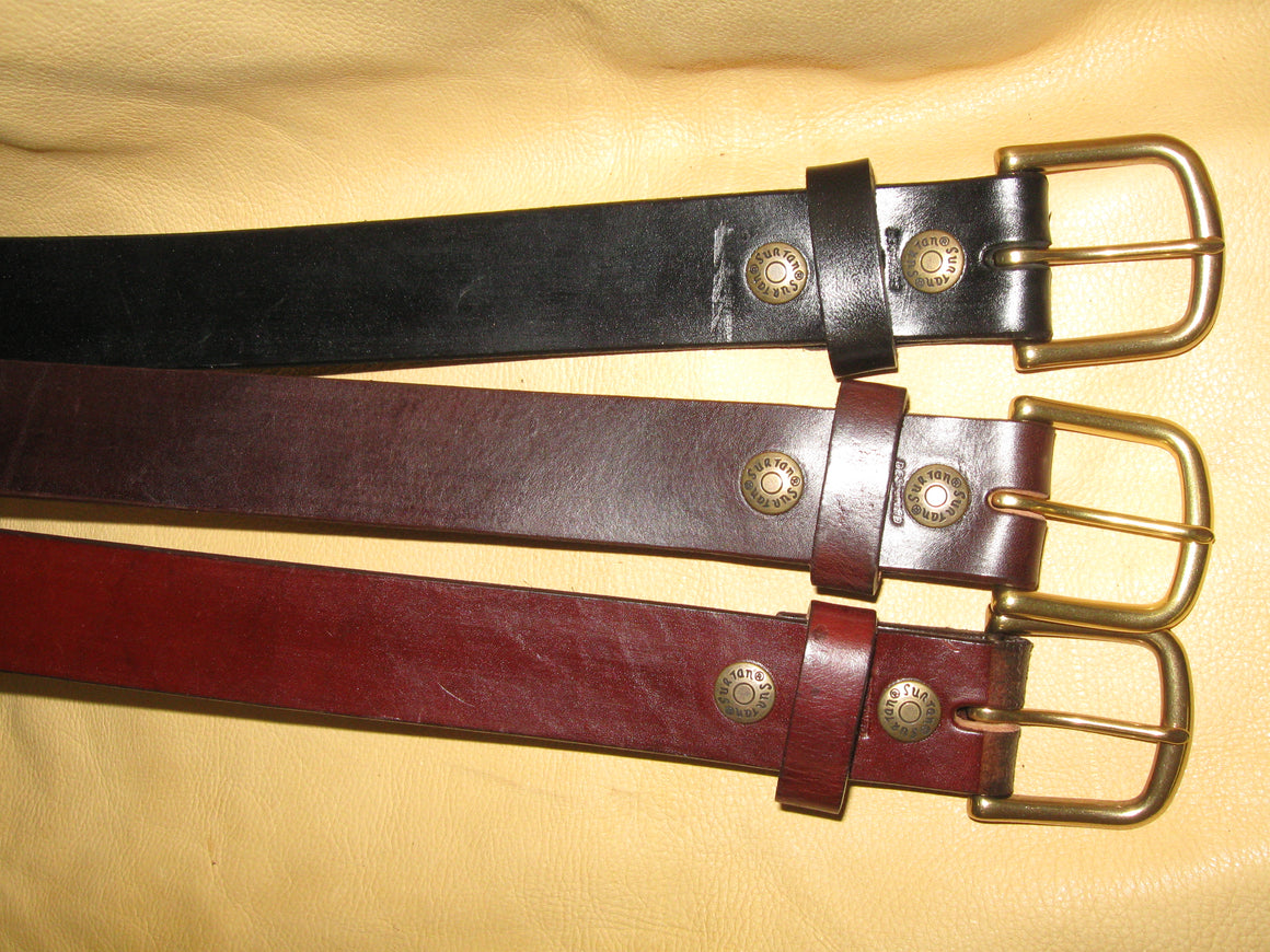 Plain Design Latigo Leather Belt w/Solid Brass Buckle - Sur Tan Mfg. Co.
